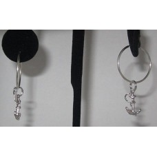 Sterling Silver Anchor charm Earring