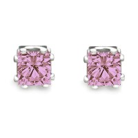 Pink CZ princess cut stud earrings 8 prong setting heavy rodium overlay