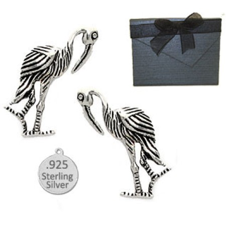 925 Sterling Silver Crane Earrings
