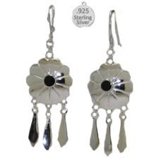 Silver Genuine Gemstone Black Onyx Wholesale Earrings