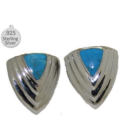 Genuine Turquoise .925 Sterling Silver Earrings