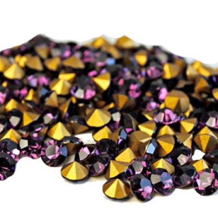 20 Amethyst Crystal 18mm Round Crystal No Backing