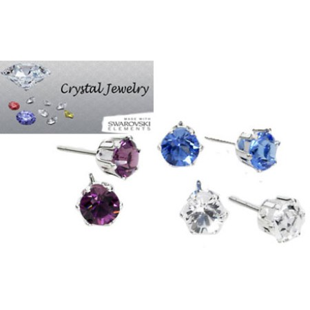 3 pair Stud earrings made with Swarovski Crystal with pouch in Yellow Gold