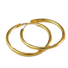 Elegant gold tone hoop earrings with 18kt gold post