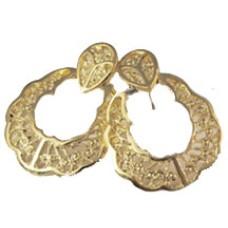 Gold Tone Doorknocker Hoop Earrings