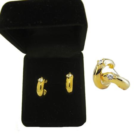 Gold Tone Hoop Post Earrings Elegant gold tone CZ