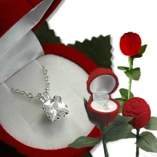 A Single Rose with Pendan Heart Cut Stone