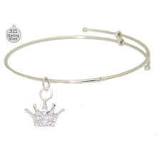 Expandable Bangle with Sterling Fancy Crown Charm