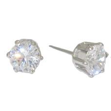 Cz Stud Earrings 3 mm white gold