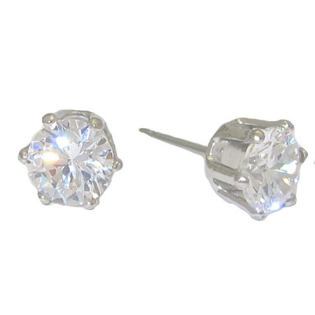 Princess Kate's Style Swarovski Cz Stud Earrings White Gold 6mm