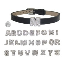 I LETTER I on leather bracelet
