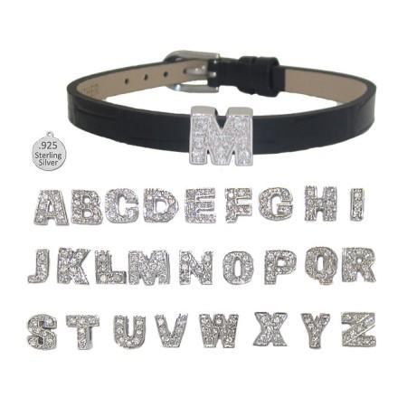 B LETTER B on leather bracelet