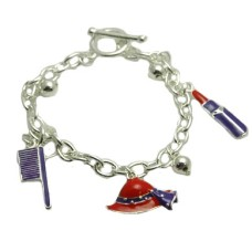 Red Hat Charm Bracelet 7 inch with enameled charms