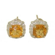 Gemstone Citrine & Diamond 14Kt Gold Wholesale Earrings